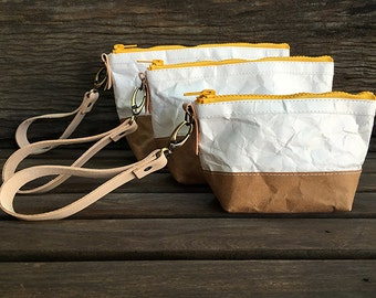 Cospack : Tyvek and Kraft cosmetic bag/cosmetic pouch/makeup bag/cosmetic case/Pouch travel bag/small purse