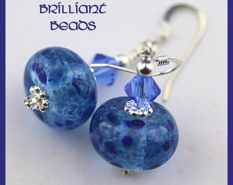 Sapphire Blue Handmade Lampwork Glass Bead Earrings, Sterling Silver earwires, Made To Order, SRAJD