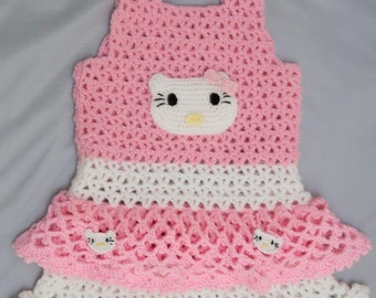 Baby dress with pink and white cat, size 1 year