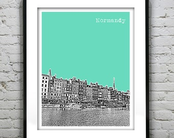 Normandy France Poster City Skyline Art Print Europe