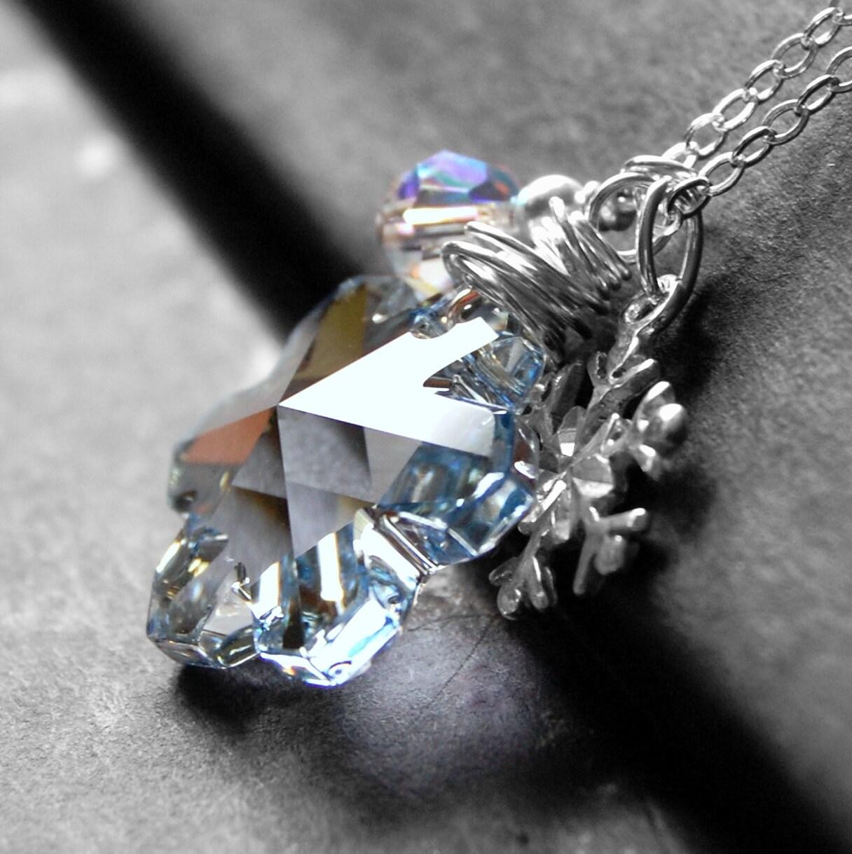 Ice Blue Snowflake Necklace Swarovski Crystal Pendant