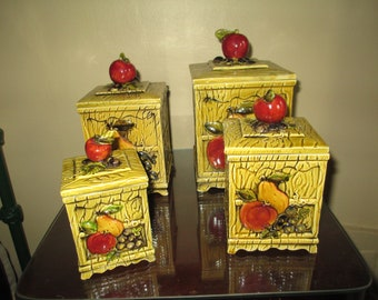 Complete Art Deco Kitchen Canister Set ~ 1960s Hand Painted Fruit Design ~ Nice!