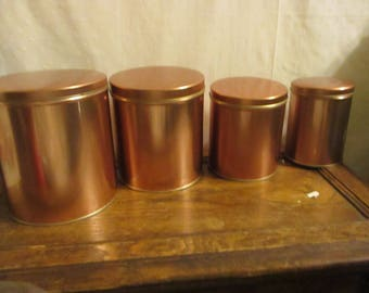 Tin Canisters Copper color set of 4 nesting