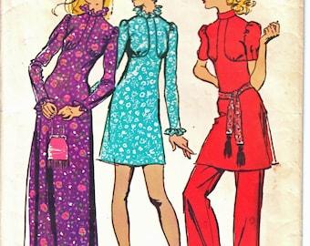 Simplicité 9519 femme victorienne d'inspiration rétro Empire couture robe Maxi, Mini robe, droit de la jambe pantalon patron taille 10 Vintage 1970 ' s