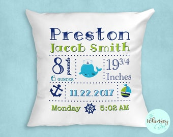 Birth Announcement Pillow, Personalized Birth Announcement Pillow, Nautical Baby Pillow, Baby Boy Pillow, Birth Stats Pillow, Boy Nursery