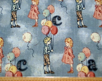 Fat Quarter Children Boy Girl ABC Fabric Blue Yellow and Pink Balloons Allover on Blue Novelty Fabric - OOP