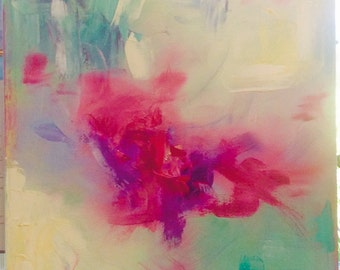 "Original Oil Painting,  Flowerburst"",  Abstract, Red, Purple, Yellow, Green, Blue, Contemporary Design"