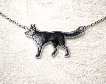 Hand-Drawn Fox Necklace - Illustrated Tattoo-Look by LaceFlyDesigns