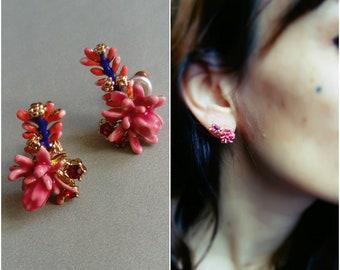 Earrings pink cactus - desert series twilight - the Nereids