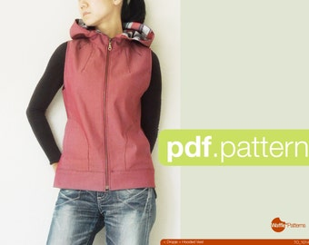 Patron PDF. Les femmes à capuchon gilet - Dropje-(taille 34-48)