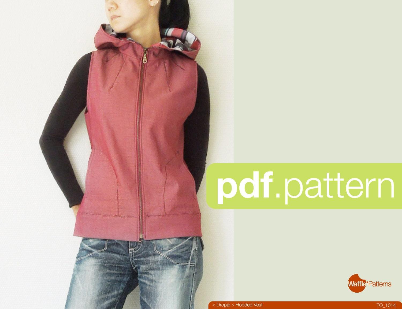 Pdf sewing pattern women hooded vest dropje size 34 48 zoom jeuxipadfo Choice Image