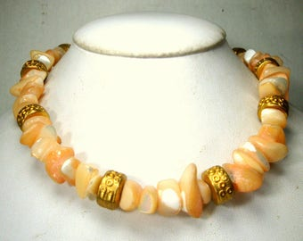 SALE, Luminous PEACH Mother of Pearl and Gold Bead Tight Choker Necklace, OOAK,  For a Mermaid, Resort, Sample