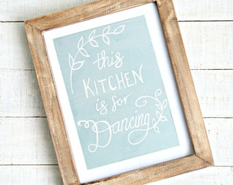Farmhouse Kitchen Wall decor | Sign with quote - This Kitchen is For Dancing | Floral wreath canvas wall decor | French Country wall art