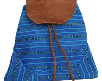 Blue Bohemian chic taupe suede and backpack in organic cotton