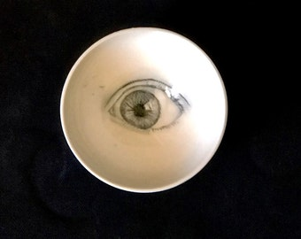 Porcelain Eye Bowl, Drawing of an Eye,  Handmade Bowl with Eye, White and Black Pottery, Unique Artistic Pottery
