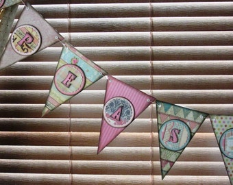 Welcome newborn twin girls with this handmade banner. Durable and reuseable. Hand inked for a vintage look.