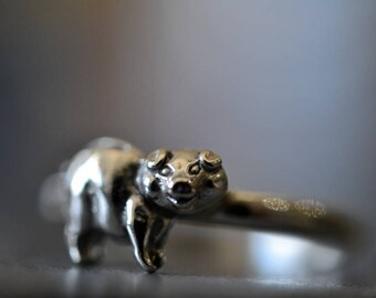 Sterling Silver Pig Ring, Customised Engraved Hammered Band, Unique Piggy Bank Jewelry, Personalised Wildlife & Farm Animal Jewelry