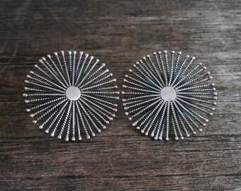 Balinese sterling silver star Earrings / silver 925 / Bali handmade jewelry / silver wire technique / 1.25 inch diameter /(#101m)