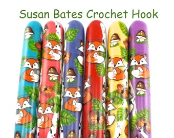 Crochet Hook, Polymer Clay Covered Susan Bates Crochet Hook, Ergonomic Crochet Hook, Fox Woods, Woodland