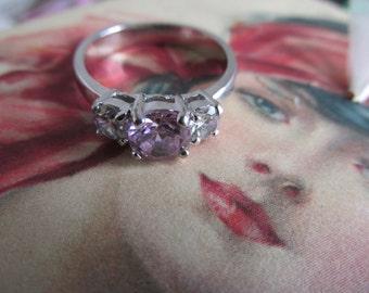 Pink Tourmaline Trilogy Ring Faux Tourmaline Diamond Ring 3 stone Pink Rings sz 7