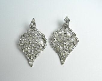 Vintage 1950s Earrings 50s Rhinestone Showgirl Burlesque Dramatic Drop Earrings Large Scale