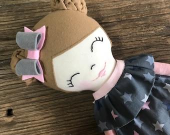 Handmade heirloom doll - Cloth doll - Rag doll - Baby Shower gift - Birthday Gift - Handmade doll - Gift - Fabric doll - gift