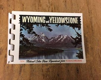 "Vintage Wyoming and Yellowstone ten Natural Color views, mini photo Book 3"" x 4"""