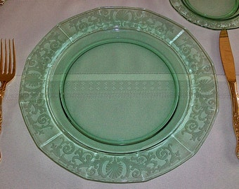 Set Of 4 HTF Fostoria Versailles Green Etched Large Dinner Plates ~ Free Shipping & Fostoria versailles | Etsy