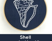 Seashell embroidery kit, shell embroidery pattern, indigo, blue and white, modern embroidery kit, shell cross stitch pattern, DIY embroidery