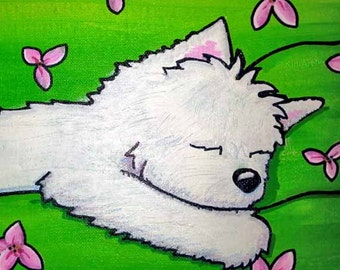 One of a Kind ORIGINAL WESTIE Painting Dog Art
