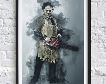 Texas Chainsaw Massacre - Leatherface  'Watercolor' A4 Print