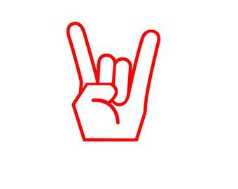 Rock On Decal - Rock hand decal - rocker decal - rock car decal - rocker sticker