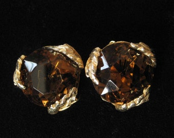 Patrician Signed Large Topaz Rhinestone Earrings