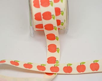 Apple Print Cotton Canvas Ribbon -- 3/4 inch -- Teacher Fall