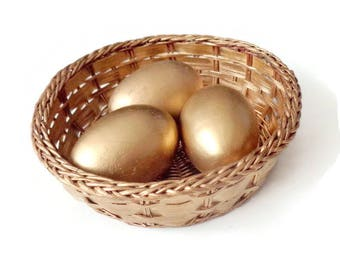 Golden Easter Eggs/ Easter 3 Wooden Eggs/ Waldorf Easter Eggs in Basket