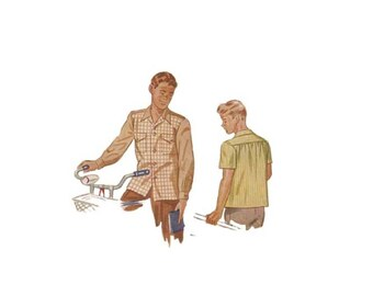 Vintage 1940s Boys Boxy Shirt Pattern Tween Size 10 Chest 28 Simplicity 1503 Long or Short Sleeves Retro Rockabilly Hipster Top Retro