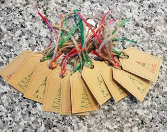 christmas tree tags/party tags/goody bag/festive/gift bag tags/sketch tree tags/kraft paper