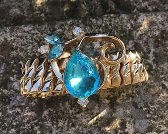 1950s Expandable Bracelet Aqua Blue Stone / Expandable Bracelet / Vintage Bracelet