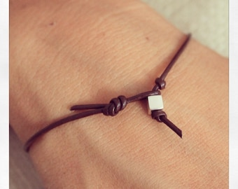 Bracelet Simple 01 Sterling .925 Leather Handmade - Brown (B401SS-LBN)