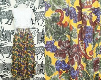 Mustard Yellow Fall Print Skirt // High Waist Autumnal Skirt // Midi Length Paisley Leaf Pattern Hipster Boho Size 12 Medium