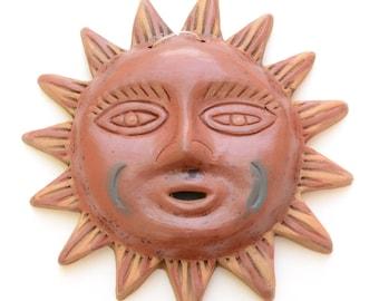Medium Ceramic Sun, Wall Hanging, Wall Art, Wall decor, Mexican Sun, Wall Sun, Outdoor Wall Sun,  Sun Wall Art, Gift for Her, Git for Mom