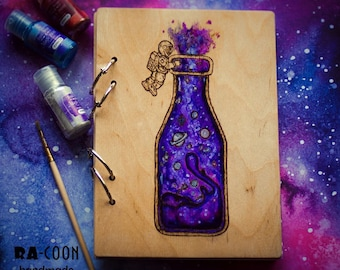 """Wooden notebook with woodburned painting """"Astronaut"""""""
