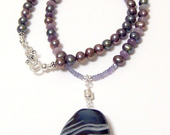 Plum Crazy About Purple 18 Inch Necklace Featuring Peacock Pearls  REAL Tanzanite and Purple Jasper and a Satake Lampwork Pendant