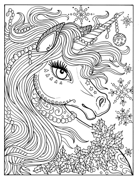 Delightful Unicorn Christmas Coloring Page Adult Color Book Art Fantasy