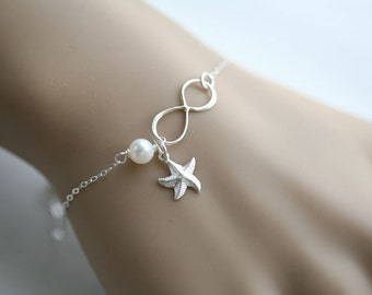 Mother in law,Godmother Gift,Infinity starfish Bracelet,custom charm bracelet,personalized note card,mom of groom,Friendship,Beach wedding