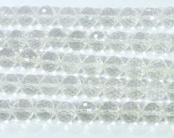 12mm Round Cut Rock Crystal Semiprecious Gemstone Bead Strand 15''L 6307