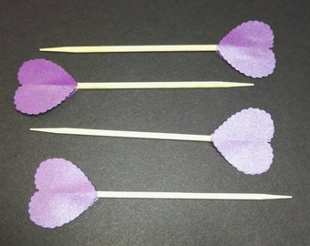 20 Love Heart With a Scalloped Edge Pearlescent Paper Cake or Cupcake Toppers, 15 Colours Available, Free Postage,