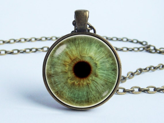 Green eye necklace eye pendant eye jewelry glass eyeball like this item aloadofball Choice Image
