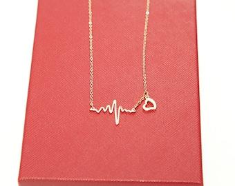 Rose Gold Necklace, Heartbeat Necklace, EKG Necklace, Wave Necklace, Nurse/Doctor Gift