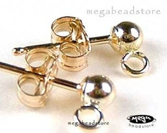 5 pairs 3mm Ball Ear Posts 14K Gold Filled Earring Post w/ Backing F58GF